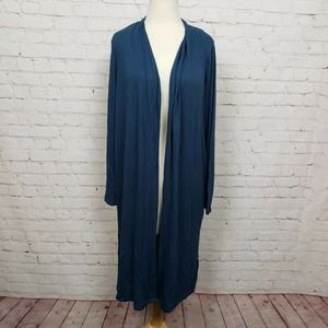 H HALSTON Solid Knit Long Cardigan In Storm Blue